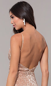 Image of long formal sequin-mesh v-neck prom dress. Style: LUX-LD5029 Detail Image 2