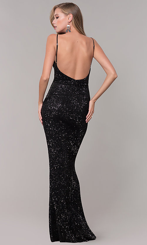Image of long formal sequin-mesh v-neck prom dress. Style: LUX-LD5029 Detail Image 3