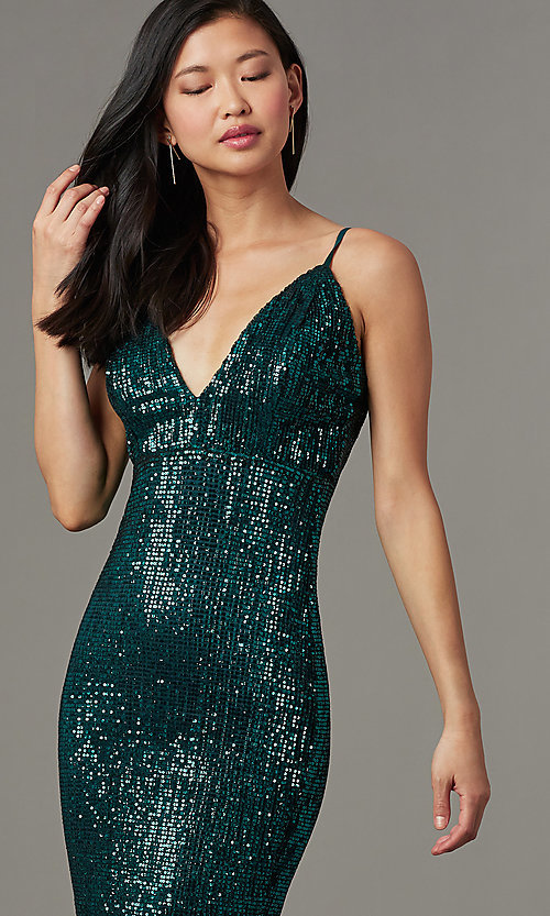 Image of long formal sequin-mesh v-neck prom dress. Style: LUX-LD5029 Detail Image 1