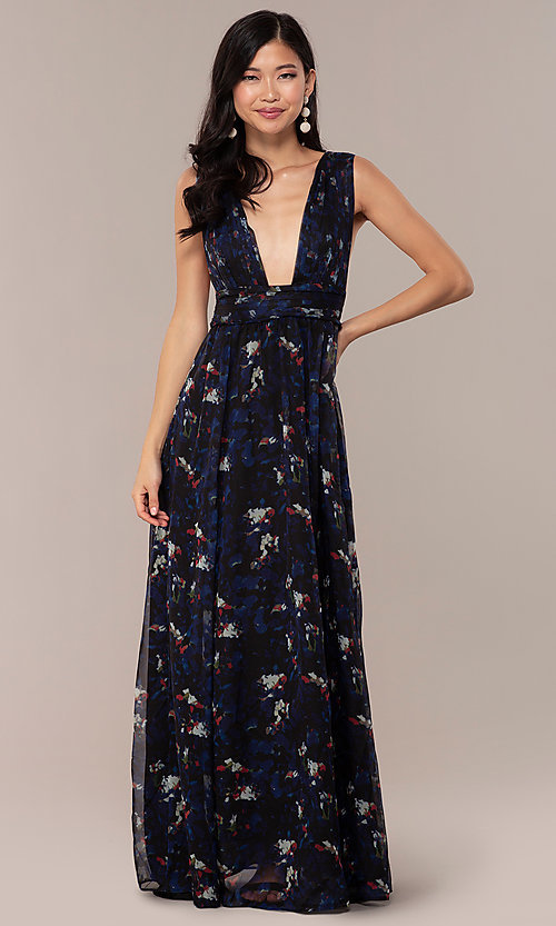 Image of open-back long floral-print royal blue prom dress. Style  586881243