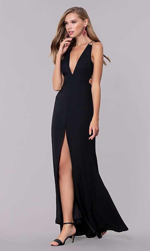 Image of long v-neck open-back chiffon prom dress with slit. Style: LUX-LD4763 Front Image