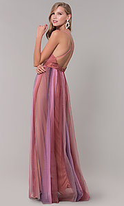 Image of long striped tulle v-neck prom dress. Style: LUX-LD5021 Back Image