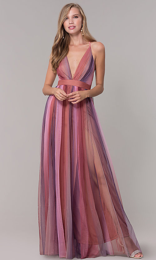 Image of long striped tulle v-neck prom dress. Style: LUX-LD5021 Detail Image 3