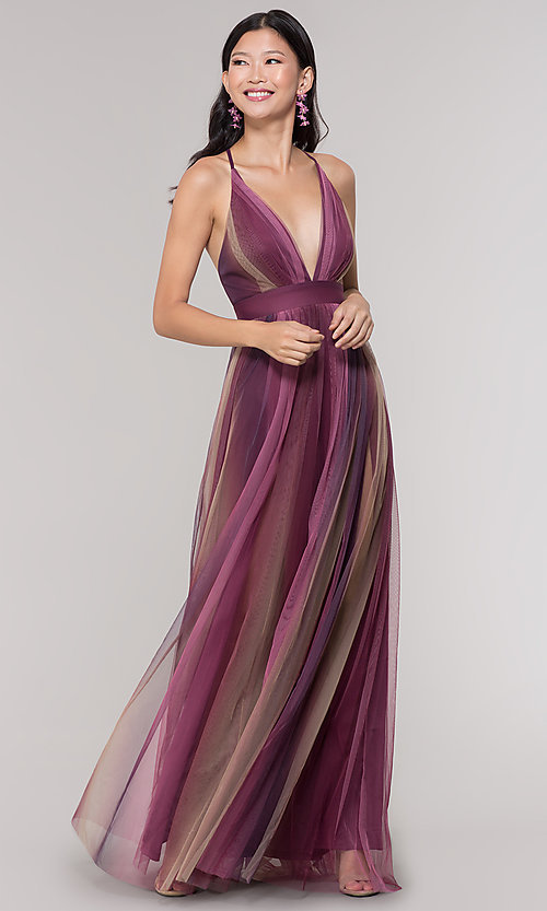 Image of long striped tulle v-neck prom dress. Style: LUX-LD5021 Front Image