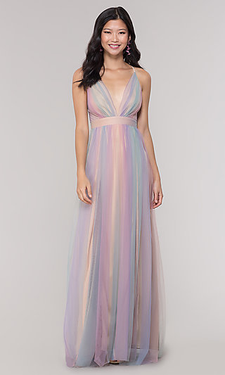 V-Neck Pastel Open-Back Prom Dress