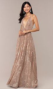 Image of metallic sequin open-back long v-neck prom dress. Style: LUX-LD5114 Front Image