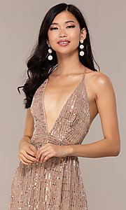 Image of metallic sequin open-back long v-neck prom dress. Style: LUX-LD5114 Detail Image 1