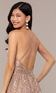 Image of metallic sequin open-back long v-neck prom dress. Style: LUX-LD5114 Detail Image 2