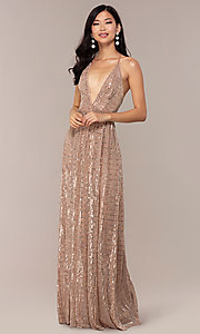 Image of metallic sequin open-back long v-neck prom dress. Style: LUX-LD5114 Detail Image 3