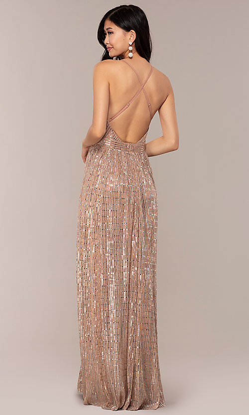 Image of metallic sequin open-back long v-neck prom dress. Style: LUX-LD5114 Back Image