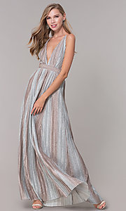 Image of long metallic striped v-neck prom dress. Style: LUX-LD5131 Front Image
