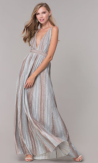 Long Metallic Striped V-Neck Prom Dress