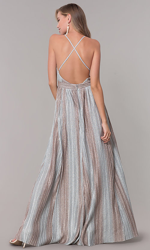 Image of long metallic striped v-neck prom dress. Style: LUX-LD5131 Back Image