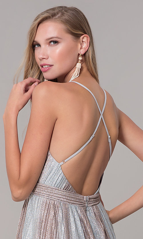 Image of long metallic striped v-neck prom dress. Style: LUX-LD5131 Detail Image 2