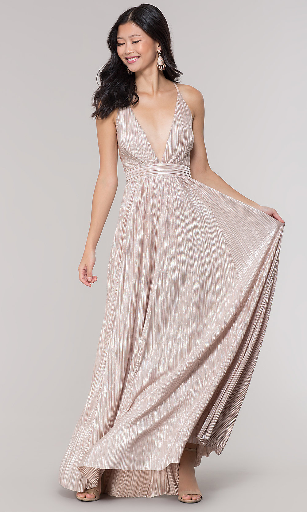 Pleated Waist Long Metallic Formal Prom Dress