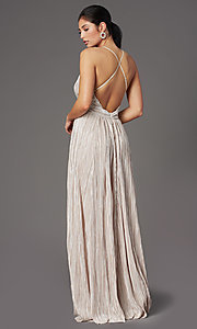 Image of pleated-waist long metallic formal prom dress. Style: LUX-LD5179 Back Image