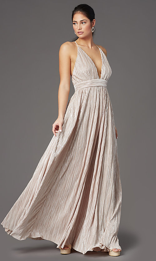 Image of pleated-waist long metallic formal prom dress. Style: LUX-LD5179 Front Image