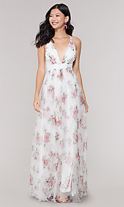 Image of v-neck long floral-print white prom dress. Style: LUX-LD4991 Front Image