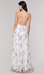 Image of v-neck long floral-print white prom dress. Style: LUX-LD4991 Back Image