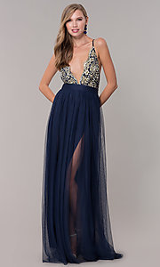 Image of long prom dress with v-neck embroidered bodice. Style: LUX-LD5152 Front Image