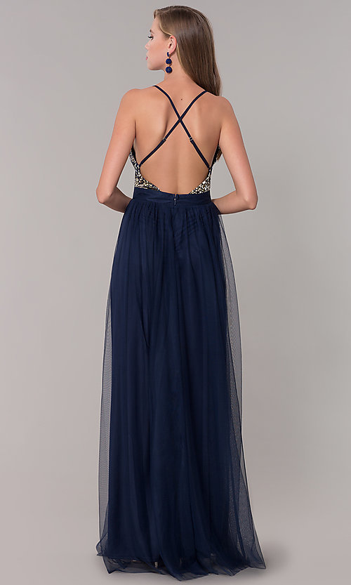 Image of long prom dress with v-neck embroidered bodice. Style: LUX-LD5152 Back Image