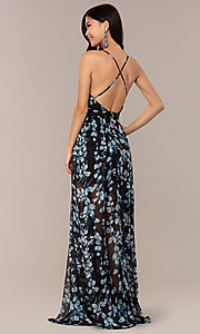 Image of long print deep-v-neck prom dress. Style: LUX-LD4983 Back Image