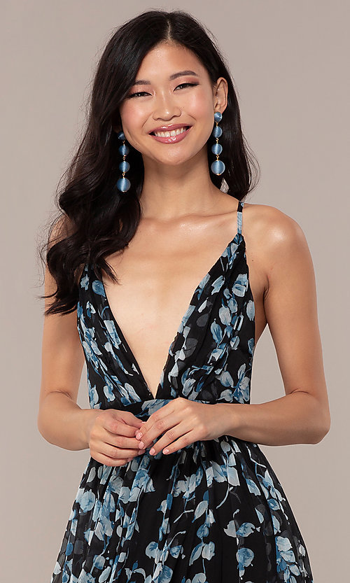 Image of long print deep-v-neck prom dress. Style: LUX-LD4983 Detail Image 1