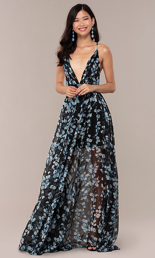 Image of long print deep-v-neck prom dress. Style: LUX-LD4983 Detail Image 3