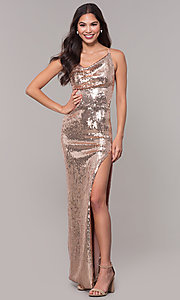 Gold Long Sequin Prom Dress With Cowl Neck Promgirl