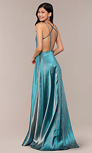 Image of glitter long blue JVNX by Jovani prom dress. Style: JO-JVNX68246 Front Image