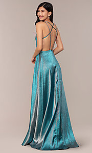 Image of glitter long blue JVNX by Jovani prom dress. Style: JO-JVNX68246 Detail Image 1