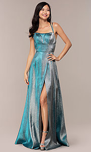 Image of glitter long blue JVNX by Jovani prom dress. Style: JO-JVNX68246 Detail Image 2