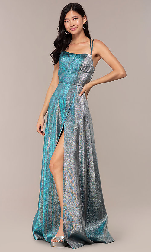 Image of glitter long blue JVNX by Jovani prom dress. Style: JO-JVNX68246 Back Image