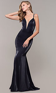 Image of long mermaid-style v-neck JVNX by Jovani prom dress. Style: JO-JVNX66954 Front Image