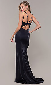 Image of long mermaid-style v-neck JVNX by Jovani prom dress. Style: JO-JVNX66954 Back Image
