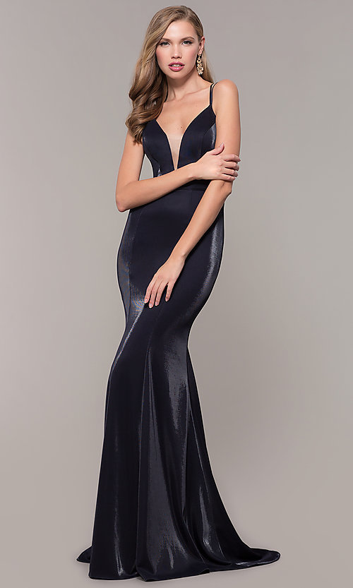 Image of long mermaid-style v-neck JVNX by Jovani prom dress. Style: JO-JVNX66954 Detail Image 3