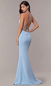 Image of backless corset JVNX by Jovani long prom dress. Style: JO-JVNX66729 Back Image