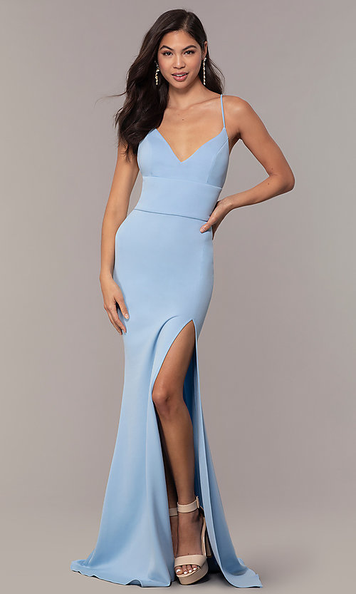 Image of backless corset JVNX by Jovani long prom dress. Style: JO-JVNX66729 Front Image