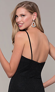 Image of JVNX by Jovani long black glitter-knit prom dress. Style: JO-JVNX67149 Detail Image 2