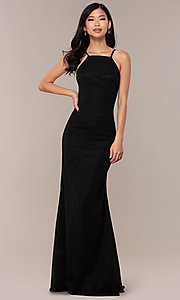 Image of JVNX by Jovani long black glitter-knit prom dress. Style: JO-JVNX67149 Front Image
