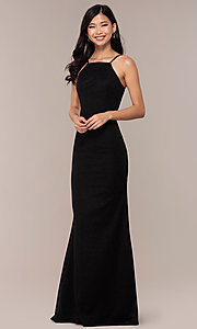 Image of JVNX by Jovani long black glitter-knit prom dress. Style: JO-JVNX67149 Detail Image 3