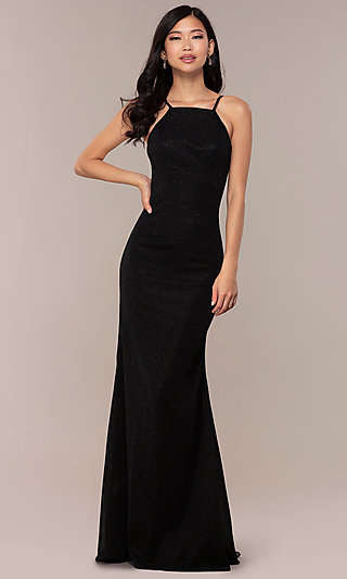 JVNX by Jovani Long Black Glitter-Knit Prom Dress