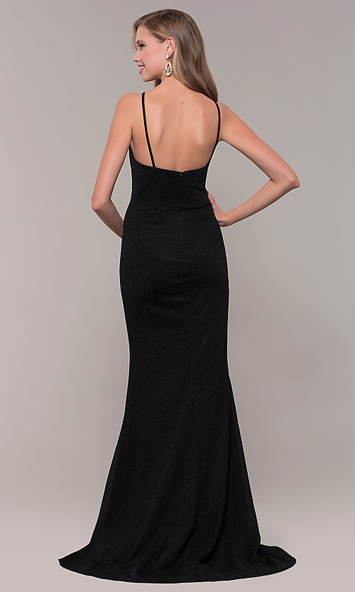 Image of JVNX by Jovani long black glitter-knit prom dress. Style: JO-JVNX67149 Back Image