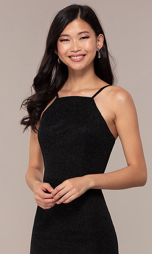 Image of JVNX by Jovani long black glitter-knit prom dress. Style: JO-JVNX67149 Detail Image 1