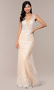 Image of long v-neck JVNX by Jovani embroidered prom dress. Style: JO-JVNX68870 Front Image