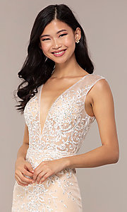 Image of long v-neck JVNX by Jovani embroidered prom dress. Style: JO-JVNX68870 Detail Image 1