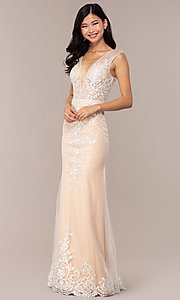 Image of long v-neck JVNX by Jovani embroidered prom dress. Style: JO-JVNX68870 Detail Image 3