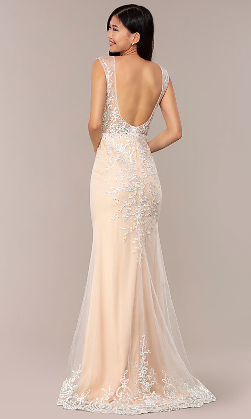 Image of long v-neck JVNX by Jovani embroidered prom dress. Style: JO-JVNX68870 Back Image