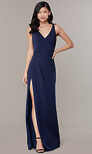 Image of long JVNX by Jovani mock-wrap v-neck prom dress. Style: JO-JVNX58378 Front Image