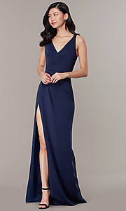 Image of long JVNX by Jovani mock-wrap v-neck prom dress. Style: JO-JVNX58378 Detail Image 2